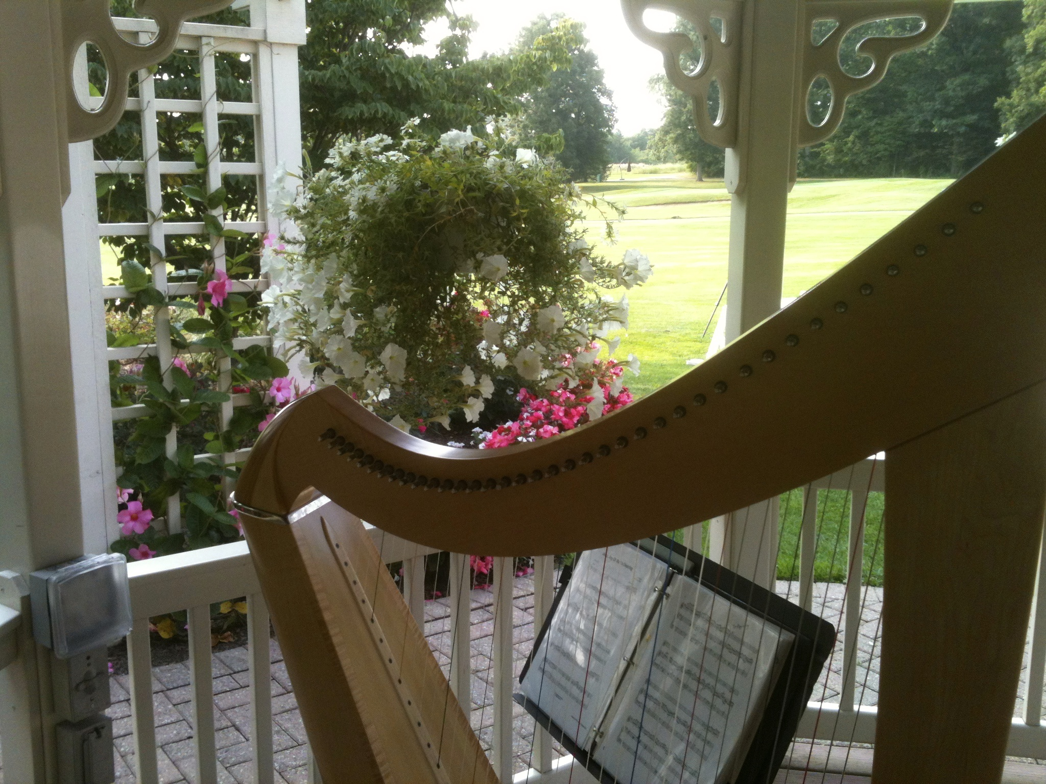 The flowers are so fragrant, and so close to the harp. A beautiful aroma accompanies me as I play this wedding processional.